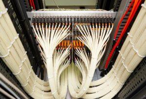 Close up of network fiber cables