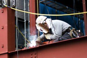 Man welding a metal structure